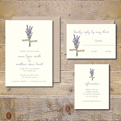 Wedding Invitations Invites Lavender Bouquer Spring Summer Fall Autumn Winter Ferns Floral (Lavender Wedding Invitations)