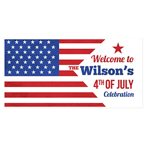 American Flag Happy Independence Day Personalized Party Banner Decoration