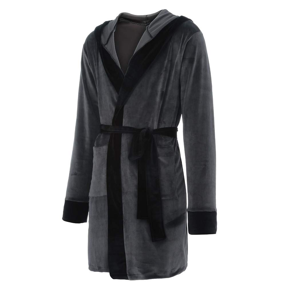 Plus Size Big and Tall Transer S-5XL Flannel Solid Colored Soft Robe Long Hooded Bathrobe