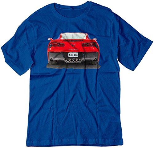(BSW Men's Nice Ass 2014 Chevrolet Corvette C7 V8 Muscle Car Shirt XL Royal Blue)