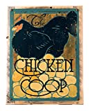 Cheap Chicken Coop Metal Sign Framed on Rustic Wood, Modern Black Chicken and Eggs, Kitchen