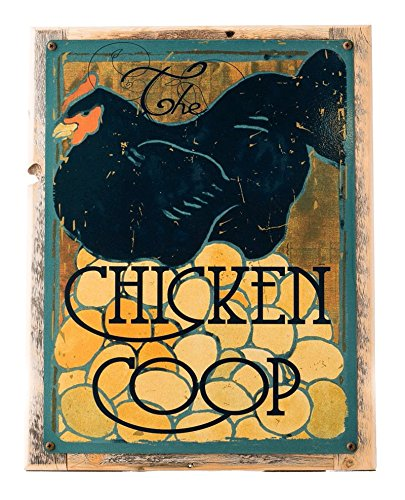 Chicken Coop Metal Sign Framed on Rustic Wood, Modern Black Chicken and Eggs, Kitchen