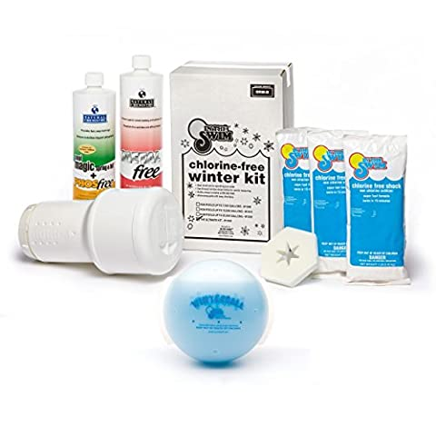 Bundle 2 Items: Ultimate Pool Winterizing and Closing Chemical Kit for Pools up to 35,000 Gallons and Winter Ball Stain - Winter Ball Natural