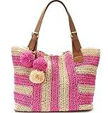 Womens Stripe Pom Pom Hobo Tote Bag (Pink Stripe)