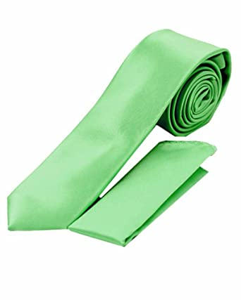 86982b67ccb8a Imani Uomo Solid Skinny Microfiber Silk-Touch Ties with Hanky - Mint Green