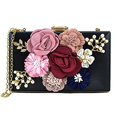 Women Flower Clutches Handbags Designer Evening Bags Prom Party Wedding Cocktail Purses with Pearls Beaded