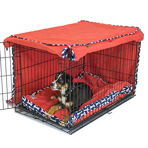 Give a Dog a Bone Crate Cover | Completely Covers Kennels and Wire Crates with Double Access Door Panels, Large - 36