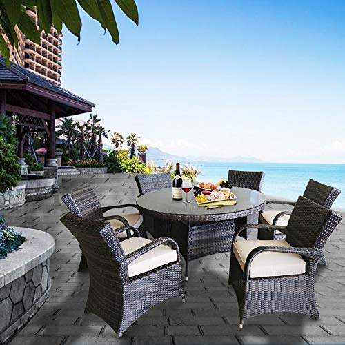 Patioption 7 Pieces (6 Seats) Outdoor Patio Furniture Dining Tempered Glass Table Sets, All-Weather Rattan Chairs with Washable Beige Cushions and Wicker Round Table, Patio Conversation Sets (Brown)