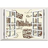 SCOCICI Window Mural Wall Sticker/London,Sketch of National British Emblems Big Ben Houses of Parliament Bus Flag,Dark Brown and Cream/Wall Sticker Mural