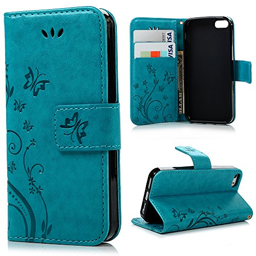 iPhone SE 5S 5 Case – MOLLYCOOCLE [Natural Luxury Blue]Stand Wallet Purse Credit Card ID Holders Magnetic Design Flip Folio TPU Soft Bumper PU Leather…