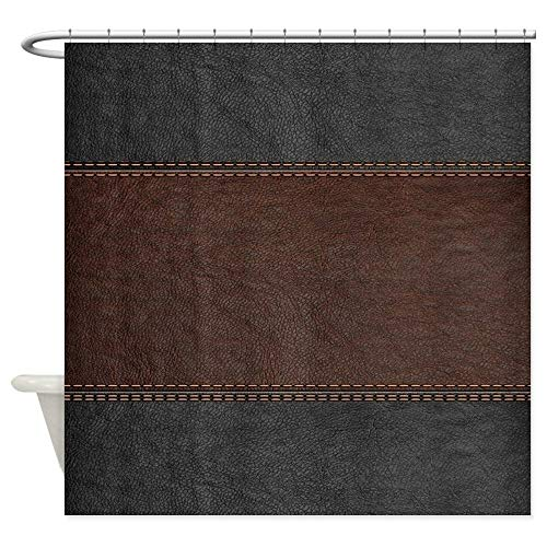 - CafePress Brow and Black Vintage Leather Look Decorative Fabric Shower Curtain (69