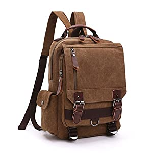 Leparvi Canvas Fashion Backpack Purse Rucksack One Strap Sling Cross body Messenger Bag Travel Rucksack (Coffee)
