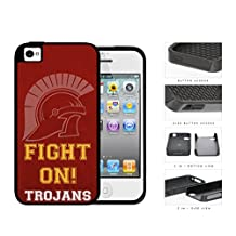 Fight On Trojans School Spirit Slogan Chant iPhone 4 4s 2-piece Dual Layer High Impact Black Silicone Cover