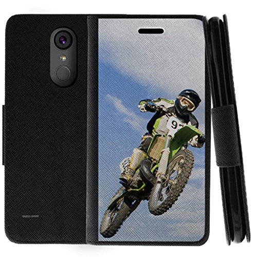 (TurtleArmor | Compatible for LG Stylo 3 Case | LG Stylus 3 Case | Stylo 3 Plus Case | Flip Kickstand Wallet Case Cover with Card Slots Sports and Games Design - Motocross Bike)