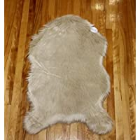 Z & Z Home Faux Fur Rug. For Your Floor, Sofa or Chair. Machine Washable (24 x 36, Beige)