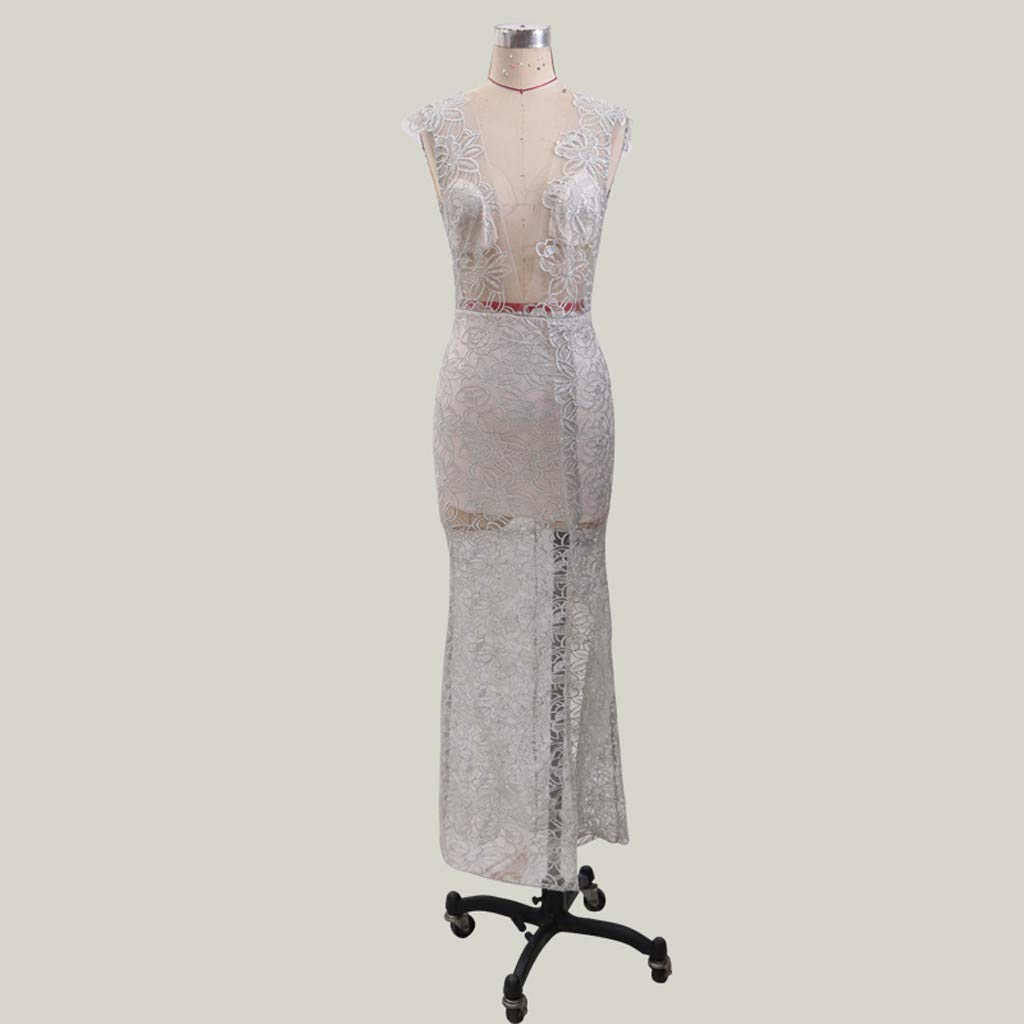 Onefa Womens Deep V Neck Sleeveless Neckless Dress Elegant Long Dress Gray, XL
