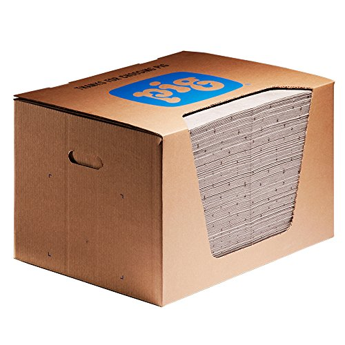 New Pig MAT577 Polypropylene Oil-Only Absorbent Mat Pad in Dispenser Box, 22 Gallon Absorbency, 20'' Length x 15'' Width, Brown (Box of 200) by New Pig Corporation