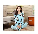og tea company - 2018 Winter 2pieces Pyjamas Set Women Girls Cotton Round Neck Pajamas Sets Teacup Cat Sleepwear Clothes miqitou Blue S