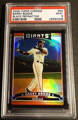 2006 BARRY BONDS TOPPS CHROME BLACK REFRACTOR #50 PSA 9 POP 2 /549 (364)