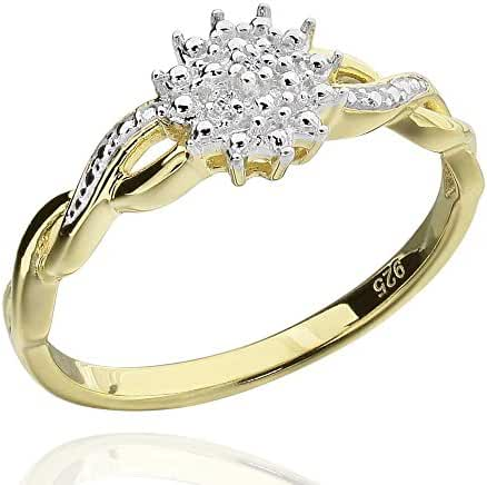 Sterling Silver Two-Tone Round Diamond Accent Infinity Flower Ring