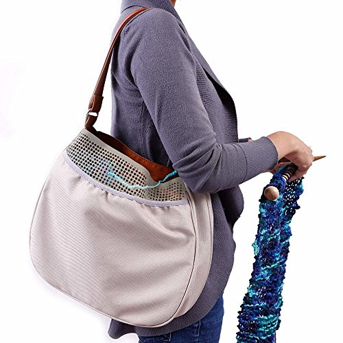 (G.U.S. Knitting Hobo Bag with Faux Leather Handle, Yarn Cutting Charm, and Removable Shoulder Strap. Adult/Full Size, Gray Polyester Tote with Mesh Yarn Pocket)
