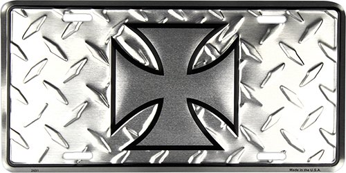 HangTime Iron Cross Front Novelty License Plate - Iron Crosses Embossed
