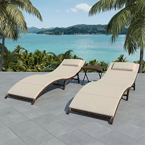 - Patio Daybed Outdoor Garden Classic Sun Lounger Set Classic Wicker Poly Rattan Solid Foldable Chaise Chair Daybeds Durable Compact Folding Table 5 Pcs Brown