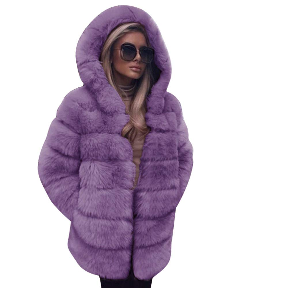 Purple LISTHA Faux Fur Coat Women Hooded Warm Overcoat Winter Thick Jackets Pockets