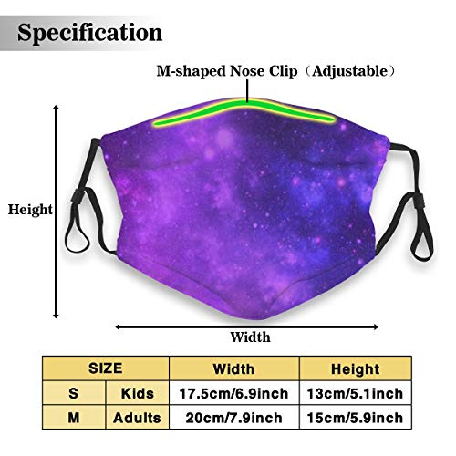 Dustproof Masks,Activated Carbon Dust Mask with PM2.5 Filter,Anti Dust Mouth Maks,Brilliant Purple Galaxy Breathable Safety Respirator Face Mask Reusable Washable Facial Mask for Kids Adults- S