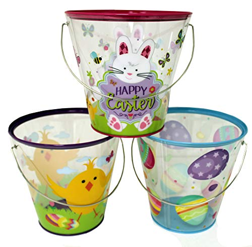 The Tin Box Company 980307-3DS Easter Clear Tin Buckets with Handle, Yellow (Pack of -