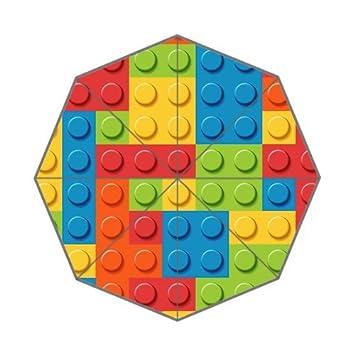 La fame bloques Rainbow Lego personalizado plegable paraguas lluvia paraguas resistente al viento resistente al viento