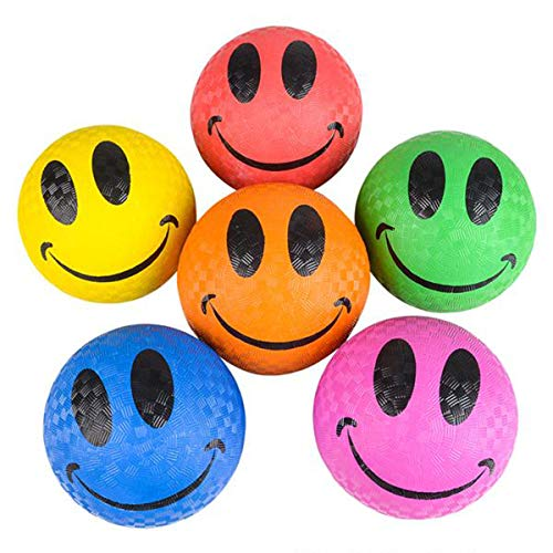 Kicko Smiley Face Ball - Pack of 6 5 Inch Colored Playground Balls with Smile Face Design - Perfect Accessory on Parties, Events, Gatherings, Road Trips, and Playgrounds - for Kids of All Ages