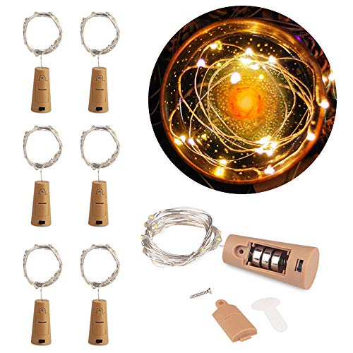 MOMO Set of 6 Warm White Wine Bottle Cork Lights - 2m 20 LED Copper Wire Lights String Starry Battery Powered Fairy Lights for DIY, Party, Decor, Christmas, Halloween, Wedding or Mood Lights