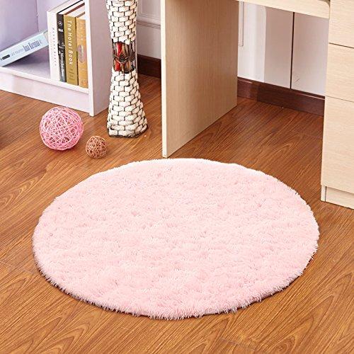 Round Solid Color simple carpet living room bedroom study table lift basket plush go seat cushion implementation mattresses, diameter 140 long hairs, Sakura Powder