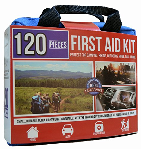 Premium First Aid Kit - Essential Pieces, Ultralight, Portable -Free Fire Starter- Perfect for Survival, Home, Car, Camping & Preparation 120pc