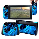 Protective Skins Stickers Cover for Nintendo Switch Console and Gray(Red, Blue)Joy con - Vinyl Decals Protector Set for Switch - Blue Fire