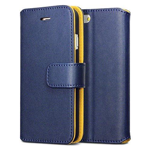 iPhone 6S Case, Terrapin [Stand Feature] iPhone 6S Cover Premium Soft PU Leather Wallet [Navy Blue] [Yellow Interior] with Card Slots ID Window Bill Compartment Viewing Stand for iPhone 6 / 6S - Navy Blue with Yellow Interior