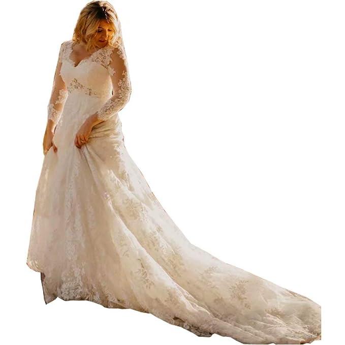 Amazon.com: Chady Fashion vestido de novia de encaje para el ...