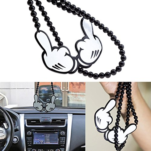Xotic Tech Joking Two-Hand Middle Fingers Rear View Mirror Accesories Hanging Charms Dangling Beaded Pendant For Car - Finger Charm