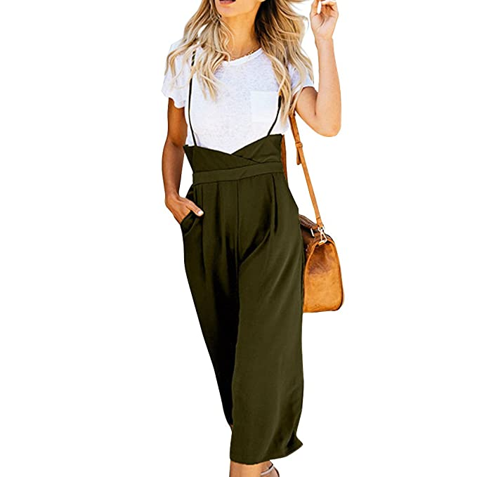 cc06c2d310e5 Amazon.com  GUOLEZEEV Suspender Pants for Women High Waisted Wide Leg  Jumpsuit Palazzo Trousers Overalls  Clothing