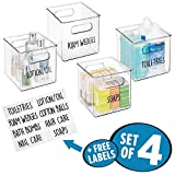 mDesign Storage Organizer Container Bin Set with 8 Identification Labels, Built-In Handles - for Bathroom Vanity Countertops, Shelves, Cabinets - Holds Cotton Balls, Hand Lotion - Pack of 4, Clear