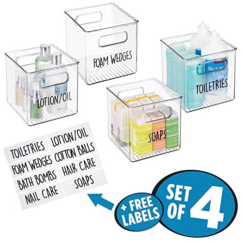 mDesign Storage Organizer Container Bin Set with 8 Identification Labels, Built-In Handles - for Bathroom Vanity Countertops, Shelves, Cabinets - Holds Cotton Balls, Hand Lotion - Pack of 4, Clear by mDesign