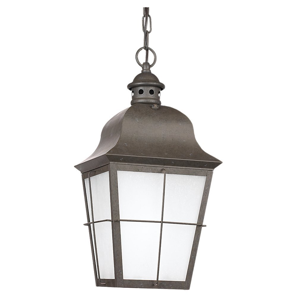 Sea Gull Lighting 69272BLE46 1-Light Chatham Outdoor Pendant, Oxidized Bronze Finish with Clear Seeded Glass