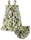 Lilybird Baby-Girls Infant Color Flower Print Dress, Green, 12 Months image