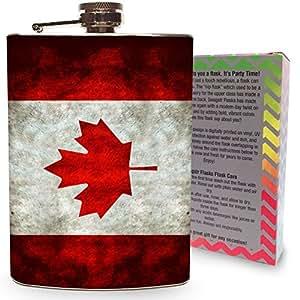 Canada Flag Flask 8oz Stainless Steel Hip Flasks Spirits Whiskey Liquor Vodka Canadian Maple Leaf Pint Cocktail Drinking Grunge vintage