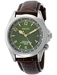 Mens Japanese Automatic Stainless Steel and Leather Casual Watch, Color:Brown (Model: · Seiko