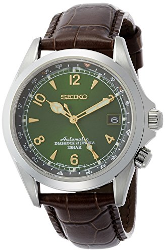 (Seiko Men's Stainless Steel Japanese-Automatic Watch with Leather Calfskin Strap, Brown, 20 (Model: SARB017))