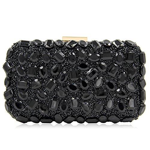 Rhinestone Evening Clutch Shoulder Party Women Black Orfila Bags Chain Wedding Dress Handbag wAHxtz