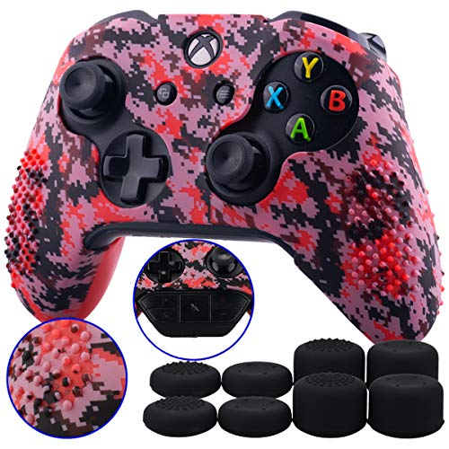 9CDeer 1 Piece of Studded Protective Customize Digital Camo Silicone Cover Skin Sleeve Case 8 Thumb Grips Analog Caps for Xbox One/S/X Controller Red Compatible with Official Stereo Headset Adapte