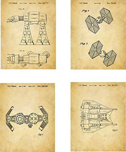 Star Wars Patent Wall Art Prints - set of Four (8x10) Unframed - wall art decor for Star Wars fans -